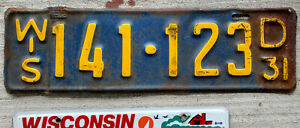 1931 Yellow on Blue Wisconsin License Plate