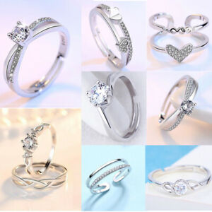 Womens 925 Sterling Silver Rings Adjustable Thumb Dual Ring Love Engagement Gift