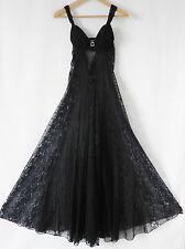 Fruit De La Passion Night Gown Black Maxi Swing Lace Slip Bra Size S/M