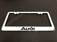 1x AUDI STAINLESS STEEL LICENSE PLATE FRAME + Screw Caps (Style A) 2006-2018
