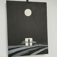 vintage paintings on canvas hand painted Moon, Couple moonscape wall hanging lrg