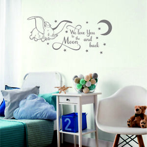 Dumbo Wall Sticker We Love You To The Moon And Back Nursery Decor Quote Bedroom