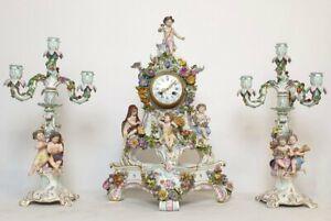 19th Century Meissen Rococo Porcelain Pendulum Clock Set Four Seasons