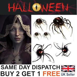 Halloween Spider Tattoos Water Transfers Fake Scary Creepy Make-Up Kit UK
