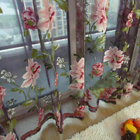 Floral Sheer Curtains Door Window Tulle Panels Voile Scarf Drape Valance Bedroom