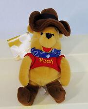 "NEW Disney COWBOY WINNIE THE POOH 9"" Bean Bag Plush Boots Western Hat Bandana!"