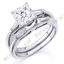 Natural 1.52Ct Princess Cut & Baguette Cut  Diamond Ring & Matching Wedding Band