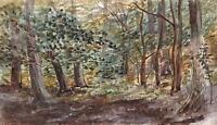IMPRESSIONIST FOREST LANDSCAPE Watercolour Painting THOMAS J JONES c1910