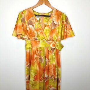 McInerny Vintage Dress Hawaiian Made Yellow/Orange Maxi Sz 14 Vneck Short Sleeve