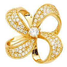 Fashion Floral Fancy 17 x 17 mm Flower Charm Cz Solid 14k Yellow Gold Pendant