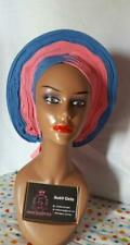 Elegant African occasion design Auto Gele Pleated 100% Aso Eke Blue/Pink