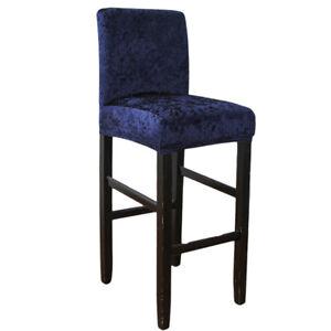 Velvet Shiny Bar Stool Chair Cover Short Back Dining Room Chair Seat Slipcover