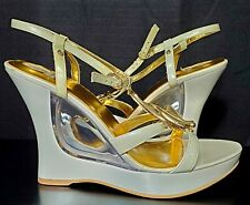 Baby phat Sandals Womens White Gold Embellish Strap Design Size 9B heels- 4 3/4