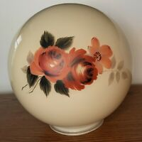 """RARE 8"""" Hand Painted Glass Lamp Globe Ball Floral/Rose Victorian Parlor Shade o1"""