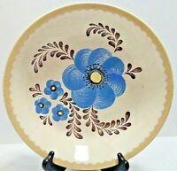 "Vintage Royal China by Jeannette 11 1/2"" Serving Bowl Brown Blue Design on Cream"