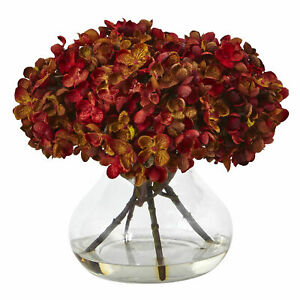 """Hydrangea With Vase Flower Arrangement Nearly Natural Home Décor Rust 8.5"""" H"""