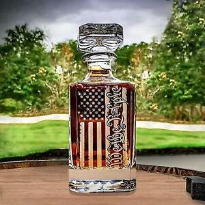 Old Fashioned Whiskey Decanter Glass 450ML Engraved We The People American Flag
