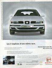 Publicité Advertising  2001  SEAT Leon 1.9 TDI 110 Stella -  Leon TDI