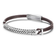 Braided Rope with 925 Sterling cm Mens Bracelet Genuine Leather Bracelet for Men