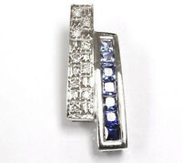 0.78 ct tw Natural Sapphire & Diamond Solid 14k White Gold Invisible Set Pendant