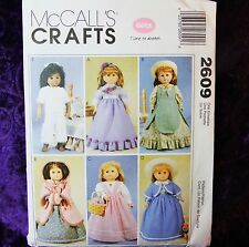 "McCall's 2609 18"" Doll Clothes PATTERN 6 Outfits Historical Coat Long Dresses"