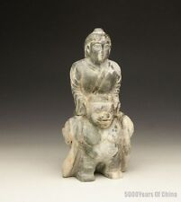 """7.4"""" Nice Old Chinese Carved Pigsy & His Wife Serpentine Jade Statue"""