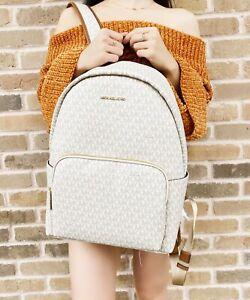 Michael Kors Erin Abbey Large Backpack Vanilla MK Signature Leather PVC Laptop