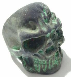 Ancient Skull Ring Roman Bronze Legionary Ring With Green Patina