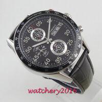 44mm Corgeut black dial Leder Datum Automatisch movement Armbanduhren