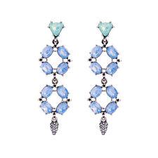 Boucles d`Oreilles Clous Argenté Chandelier Cristal Opal Bleu Vert Retro AA20