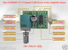 Mini PAM8403 DC5V 3W+3W 2 Channel USB Power Audio Amplifier Board Volume Knob