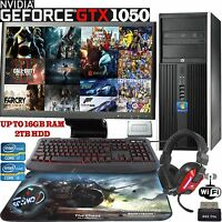 Fast Gaming PC  Quad Core i7 i5 Computer Bundle 16GB 2TB Windows 10 GTX 1050 2GB