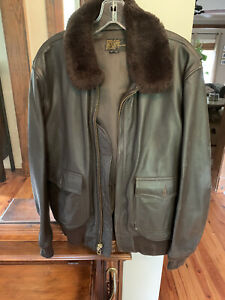 Vintage Buaer US Navy G-1 Leather Flight Jacket 44 Spec 55 JM Flight Suits Brown