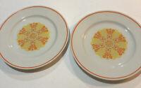 "Royalton China Co Translucent Porcelain Retro Orange Yellow Salad Plates 7 1/2"""