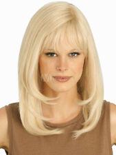 100% Echthaar! Neueste Lang Hellblond Glatt Haar Perücke Mode Damen Perücken Neu