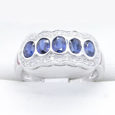 Sapphire and Diamond ring set in White Gold, New, easy to wear