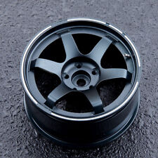 PS 2PCS Black Aluminum Alloy Emulational Wheel Rim Hub For 1/10 RC Drift Cars