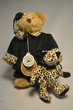 "Boyds Bears & Friends - Black Plush Bear with Small Leopard Cat - 9"" Plush"
