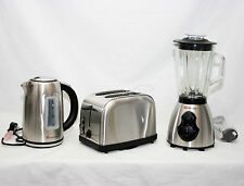 Hervidor Eléctrico Inalámbrico 1.7L Plata + Gran Pan Slice Toaster +500W Conjunto De Licuadora