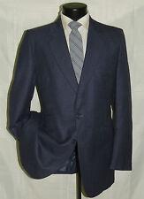 VINTAGE Blue mini check men's custom made slim fit suit coat jacket pant 42 L