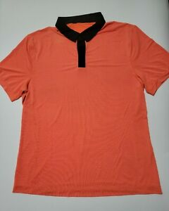 Men's Lululemon XL Precision Polo Short Sleeve Shirt Orange / Black