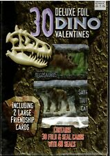 Vintage Deluxe Foil Dino Valentine's 30 Count Fold & Seal Cards - New In Box