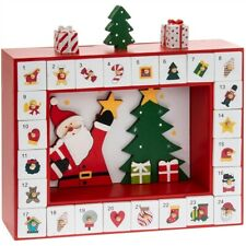Santa With Tree Box Wooden Christmas Advent Calendar 29cm