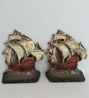 Vtg 1920s Pirate Ship Galleon Sailboat Boat Painted Cast Iron Bookends Book Ends