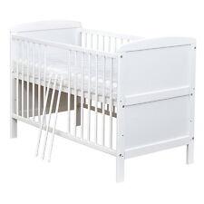 Babybett Kinderbett Gitterbett Weiß umbaubar 140x70, Matratze NEU