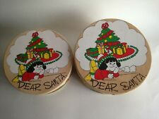 "VINTAGE WOOD NESTING BOXES ROUND CHRISTMAS BOX SET (2) 8"" & 7"""