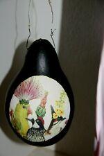 whimsical gourd bird feeder with exotic birds