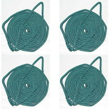 4 Pack of 5/8 x 30 Ft Forest Green Double Braid Nylon Mooring and Docking Lines