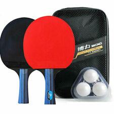 1 Pair Professional Table Tennis Ping Pong Racket Paddle Bat 3pcs Balls Bag Set
