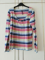 NEXT WOMENS GREY PINK BLUE STRIPED BLOUSE TOP SIZE 14 LONG SLEEVE DECO BUTTONS